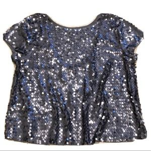 🆕 Express silver sequin cropped cap sleeve…